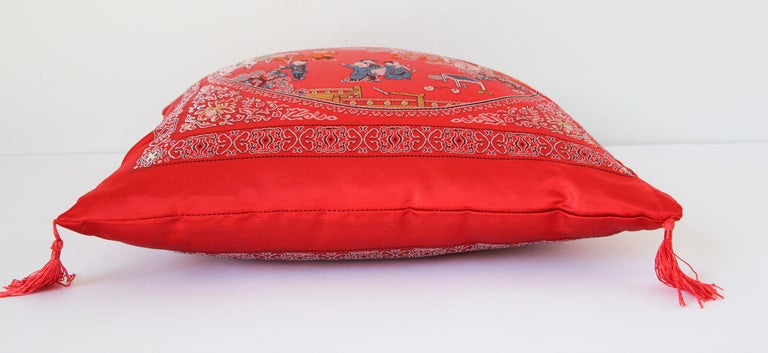 Chinese Decorative Red Throw Pillow with Tassels For Sale 5