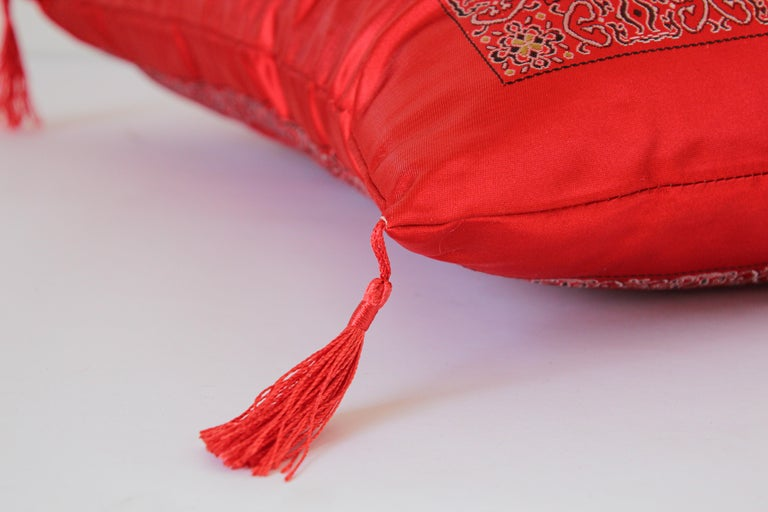 Chinese Decorative Red Throw Pillow with Tassels For Sale 6