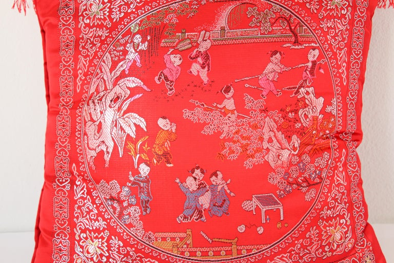 Hand-Crafted Chinese Decorative Red Throw Pillow with Tassels For Sale