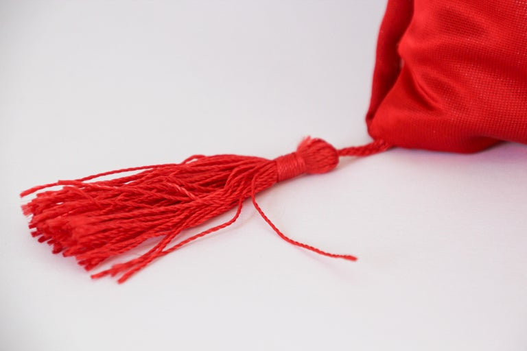 Chinese Decorative Red Throw Pillow with Tassels For Sale 1