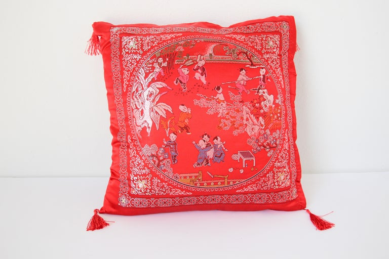 Chinese Decorative Red Throw Pillow with Tassels For Sale 2