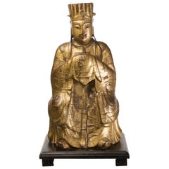 Chinese Dignatary Figure in Gilded and Painted Wood, 18th Century