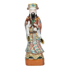 Chinese Dignitary, Polychrome Earthenware, circa 1900