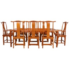 Chinese Dining Table and 8 Chairs Hardwood Oriental