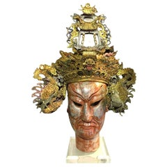 Chinese Double Dragon Wedding Banquet Headdress Crown on Wooden Display Bust