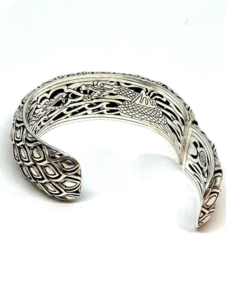 Artisan Chinese Dragon Sterling and Gold Bangle Bracelet 91.94 Grams For Sale