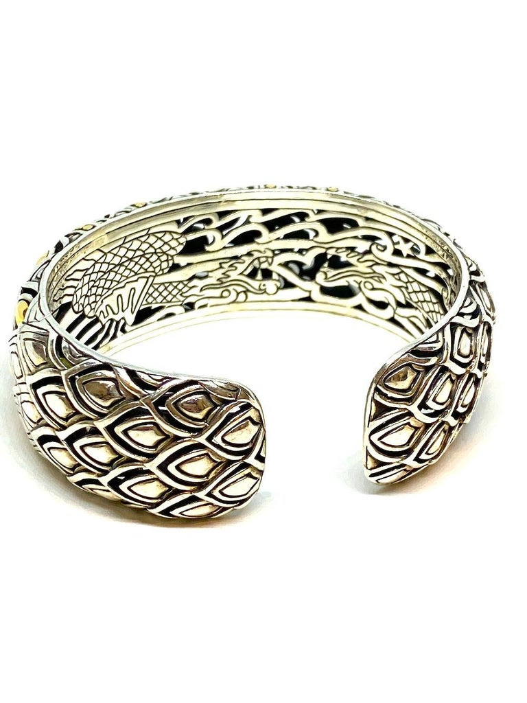 Chinese Dragon Sterling and Gold Bangle Bracelet 91.94 Grams For Sale 1