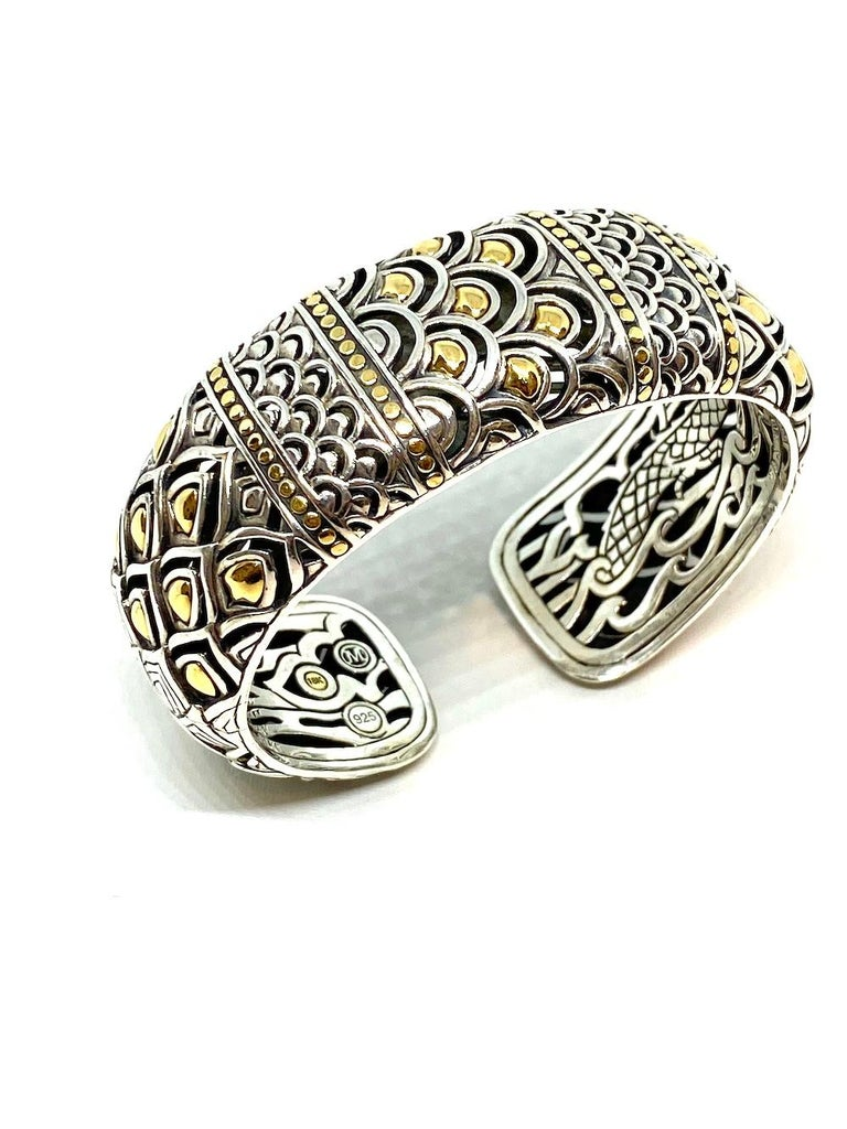 Chinese Dragon Sterling and Gold Bangle Bracelet 91.94 Grams For Sale 2