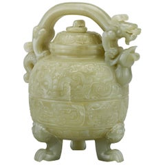 Chinese Dragon and Phoenix Celadon Jade Teapot