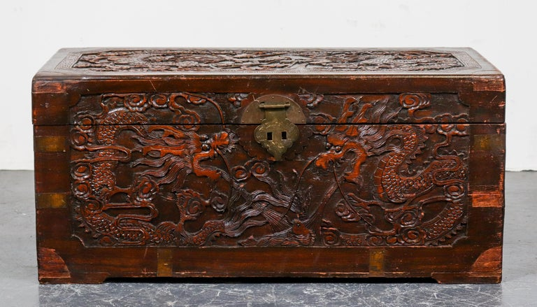 Chinese Dragon Carved Camphor Wood Trunk In Good Condition For Sale In New York, NY