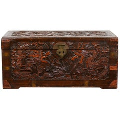 Chinese Dragon Carved Camphor Wood Trunk