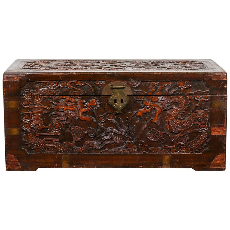Chinese Dragon Carved Camphor Wood Trunk For Sale