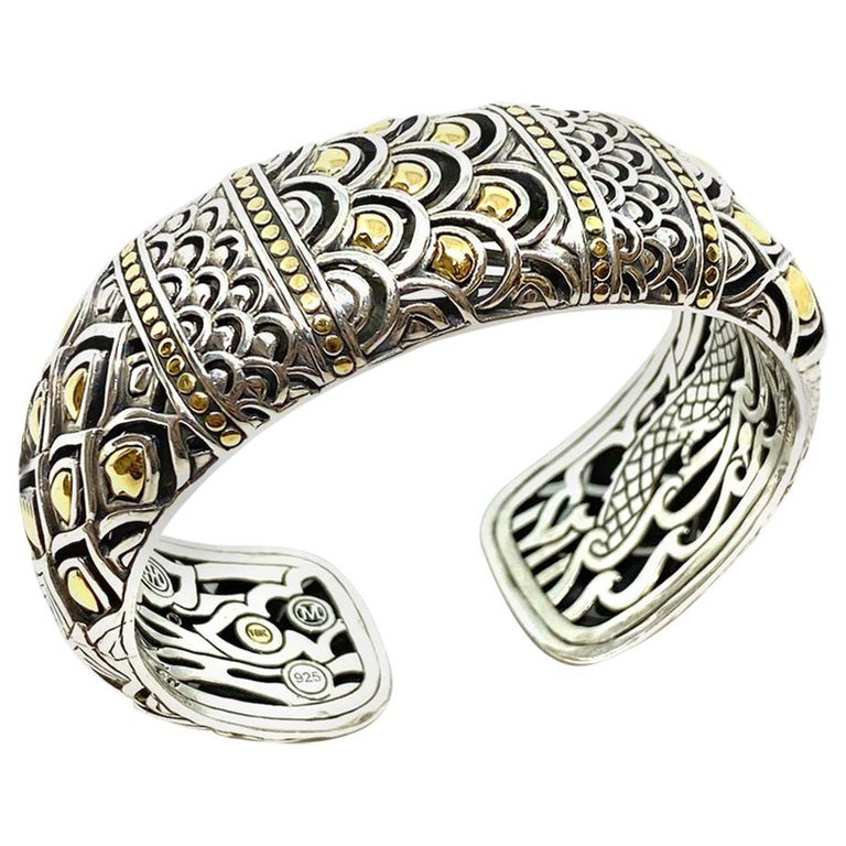 Chinese Dragon Sterling and Gold Bangle Bracelet 91.94 Grams For Sale