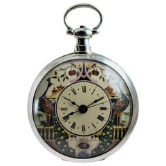 Chinese Duplex Silver Case Pendulum Pocket Watch Peacock Motif, circa 1870s