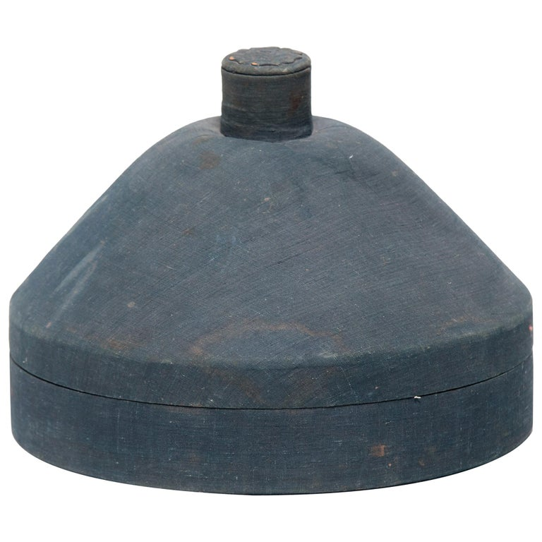 Chinese Dusty Blue Summer Hat Box, circa 1850 For Sale