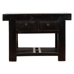 Chinese Early 20th Century Black Lacquered Console Table with Two Drawers