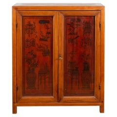 Chinese Early 20th Century Cabinet with Ink-Decorated Panels under Glass