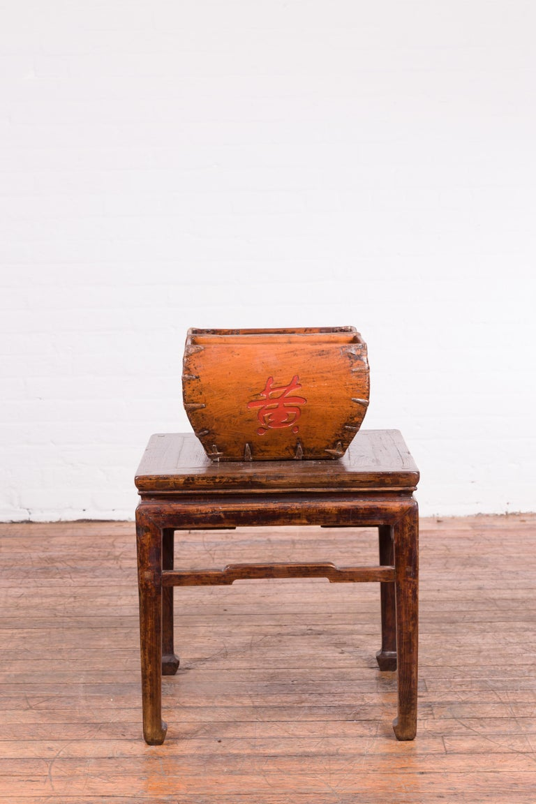 Wood Chinese Early 20th Century Grain Basket with Red Calligraphy and Braces For Sale