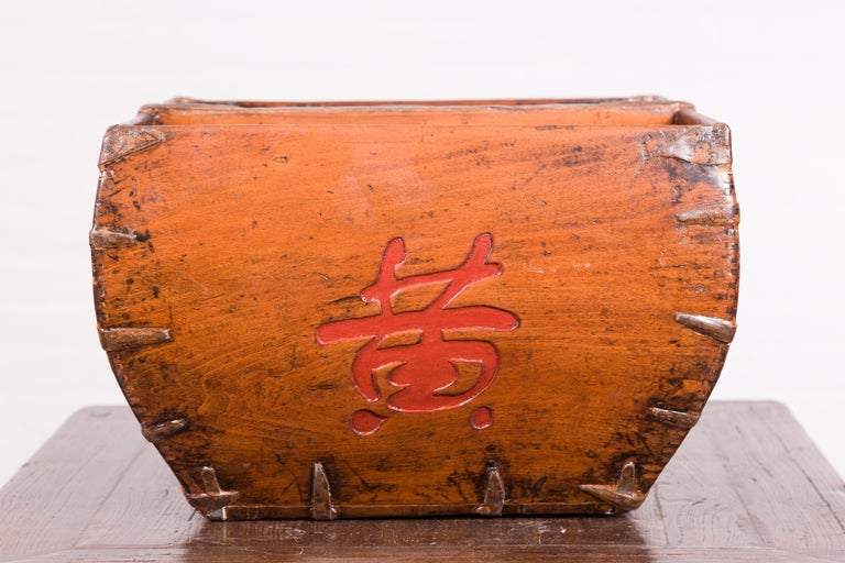 Chinese Early 20th Century Grain Basket with Red Calligraphy and Braces For Sale 2