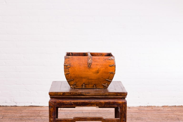 Chinese Early 20th Century Grain Basket with Red Calligraphy and Braces For Sale 4