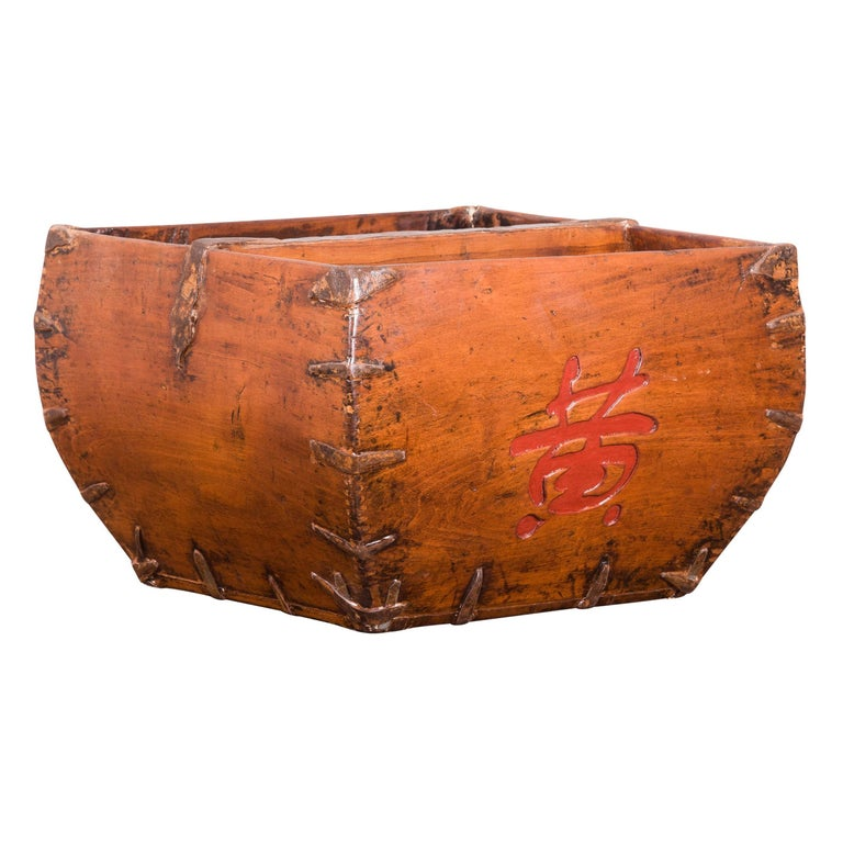 Chinese Early 20th Century Grain Basket with Red Calligraphy and Braces For Sale
