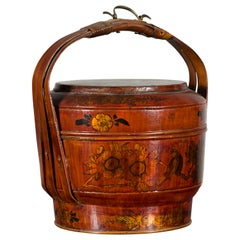 Chinese Early 20th Century Lidded Picnic Basket with Painted Birds and Flowers