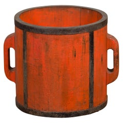 Chinese Early 20th Century Orange Grain Measuring Cup with Lateral Handles
