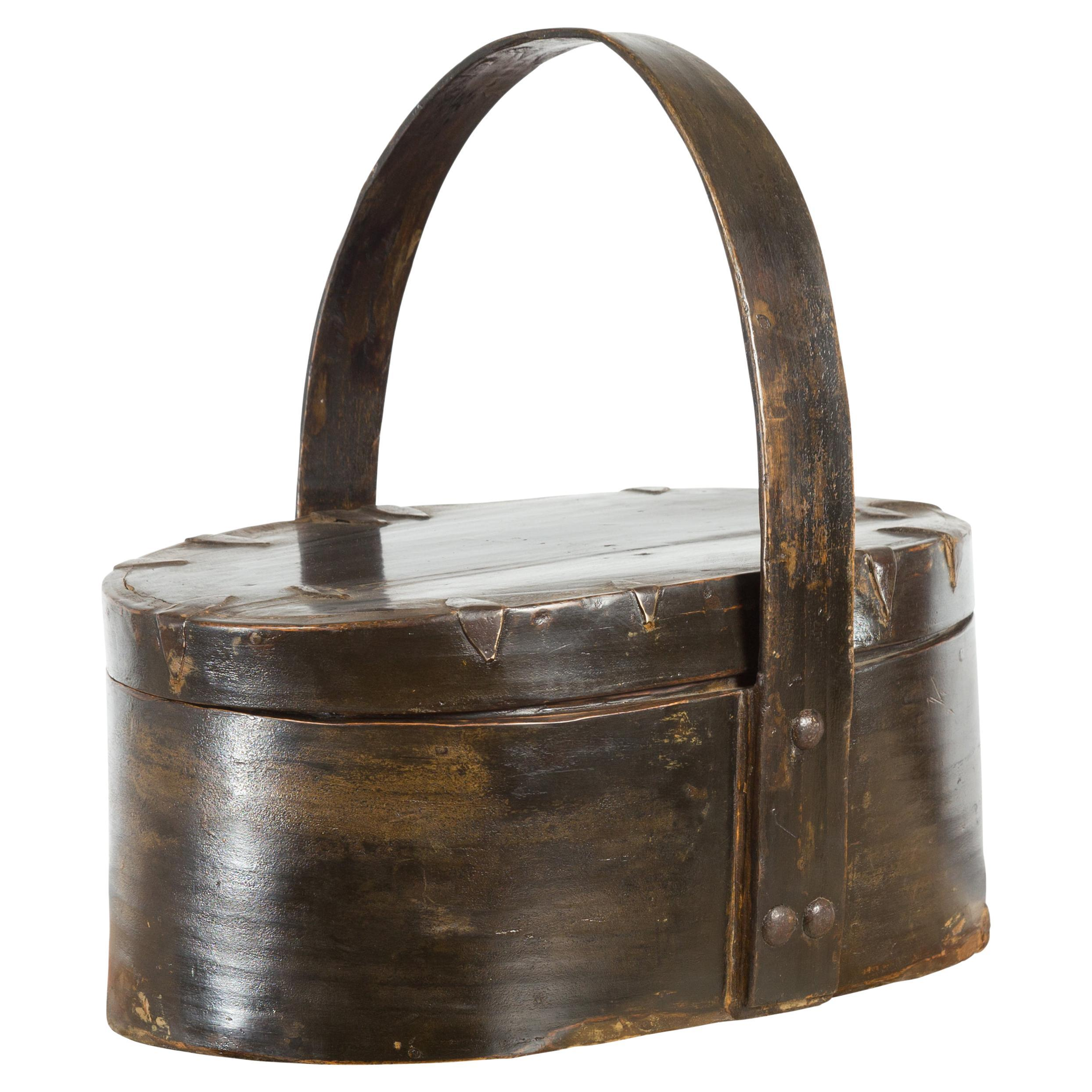 Chinese Early 20th Century Oval Carrying Basket with Large Bamboo Handle