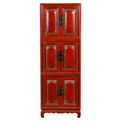 Chinese Early 20th Century Red Lacquer Three-Section Stackable Cabinet