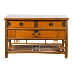 Chinese Early 20th Century Sideboard with Three Drawers and Natural Finish