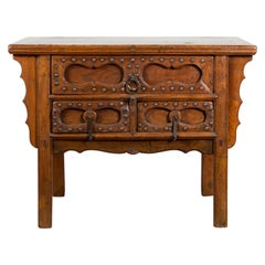 Chinese Early 20th Century Table with Three Drawers, Studs and Carved Spandrels