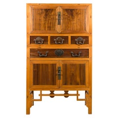 Chinese Early 20th Century Two-Toned Cabinet with Doors and Drawers