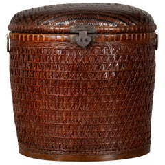 Chinese Early 20th Century Wood and Rattan Basket with Lid and Decorative Motifs