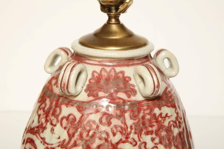 Early 20th Century Chinese Earthenware Vessel Fitted as a Lamp For Sale