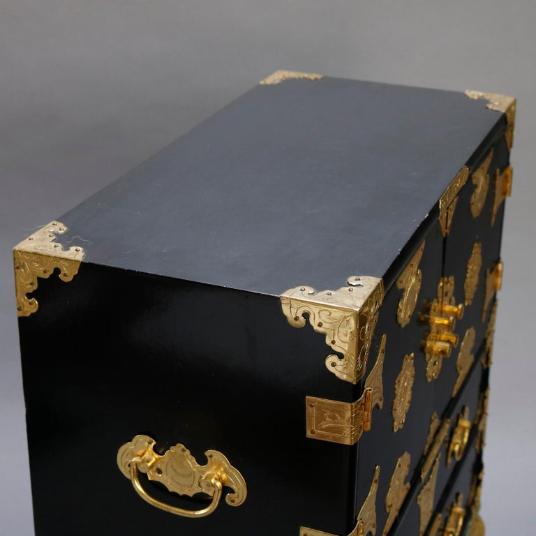 Chinese Ebonized & Brass Table Top Jewelry Cabinet, 20th Century In Good Condition For Sale In Big Flats, NY