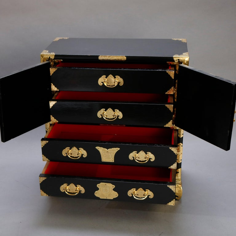 Chinese Ebonized & Brass Table Top Jewelry Cabinet, 20th Century For Sale 1