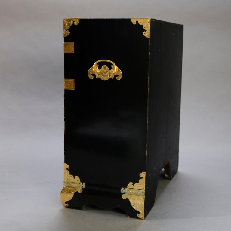 Chinese Ebonized & Brass Table Top Jewelry Cabinet, 20th Century For Sale 3