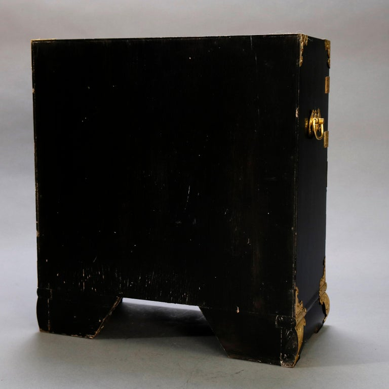 Chinese Ebonized & Brass Table Top Jewelry Cabinet, 20th Century For Sale 4