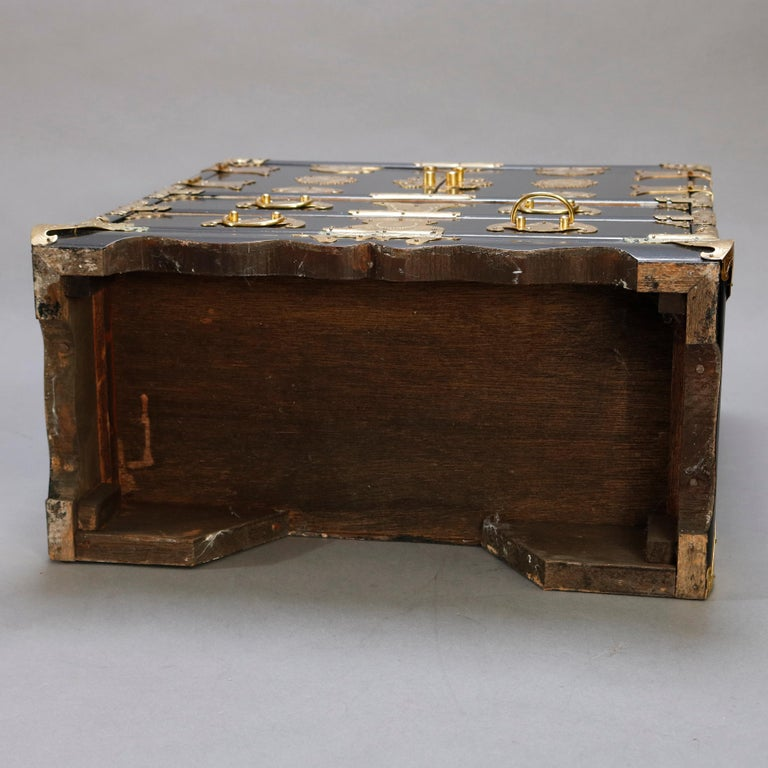 Chinese Ebonized & Brass Table Top Jewelry Cabinet, 20th Century For Sale 5