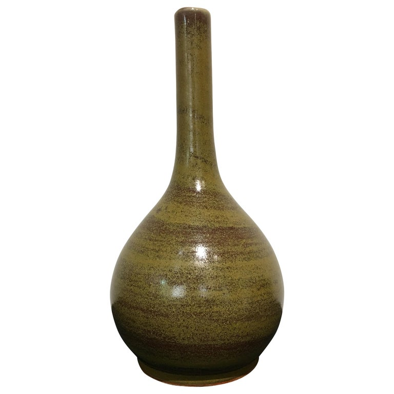 Chinese Eel Skin Glazed Stick Neck Vase, Qing Dynasty, 18th Century, China For Sale