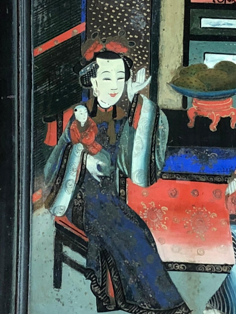 Painted Chinese Églomisé Painting, Early 19th Century For Sale