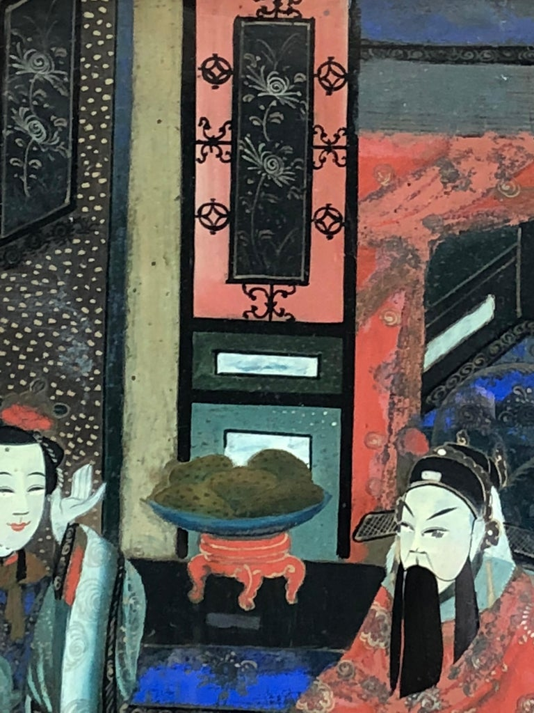 Chinese Églomisé Painting, Early 19th Century In Good Condition For Sale In Doylestown, PA