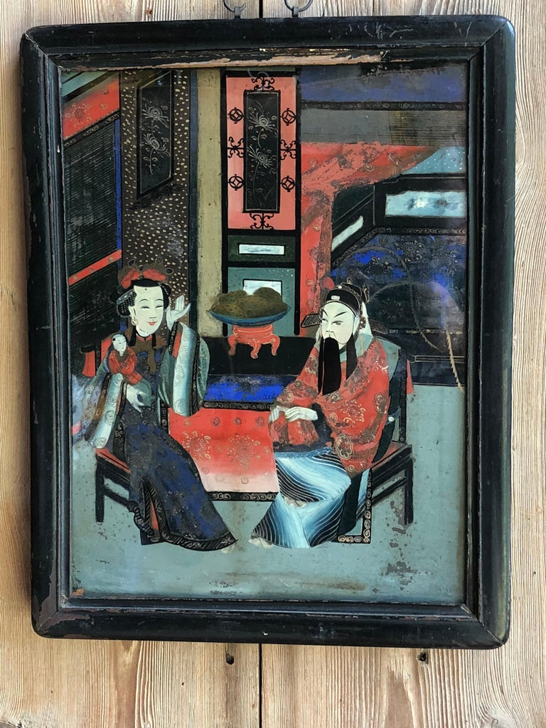 Chinese Églomisé Painting, Early 19th Century For Sale 1