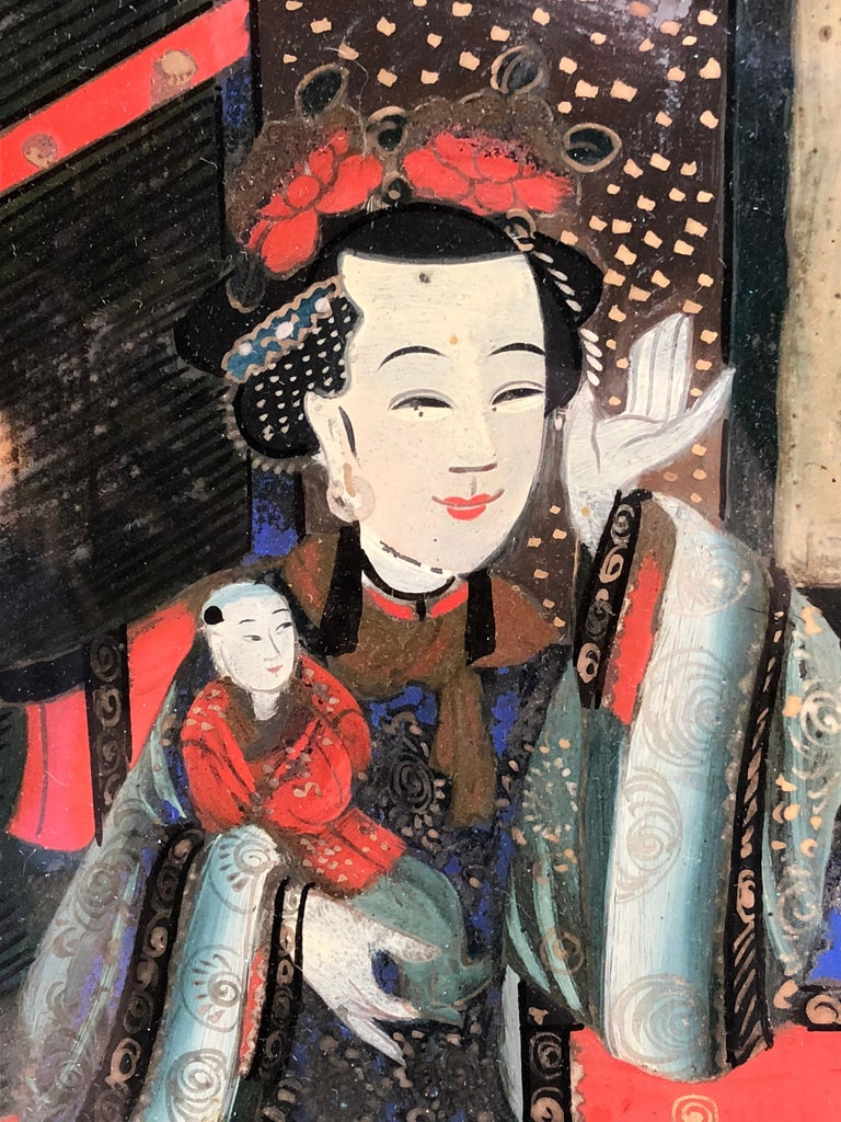 Chinese Églomisé Painting, Early 19th Century For Sale 3