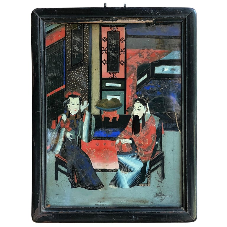Chinese Églomisé Painting, Early 19th Century For Sale