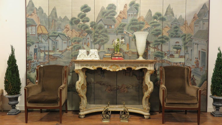 Chinoiserie Chinese Eight Panel Painting Folding Screen For Sale