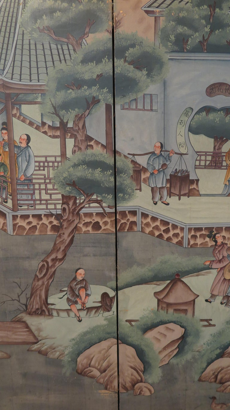 Chinese Eight Panel Painting Folding Screen For Sale 1