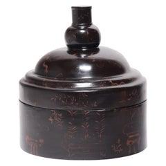 Chinese Eight Treasure Painted Winter Hat Box, circa 1850