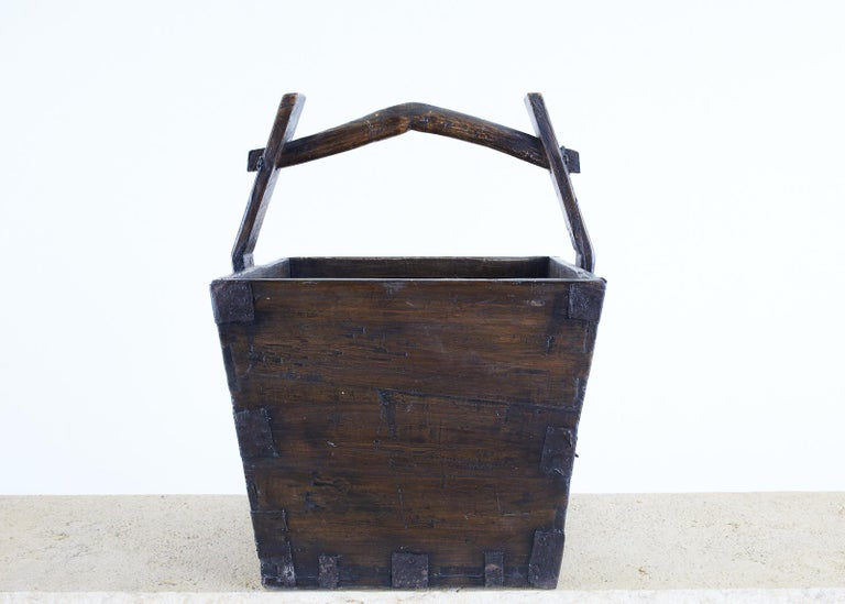 Rustic Chinese Elm Grain Bucket with Handle For Sale