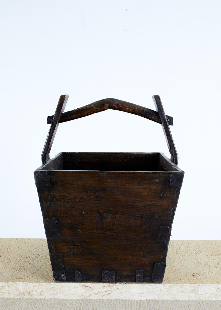 Hand-Crafted Chinese Elm Grain Bucket with Handle For Sale
